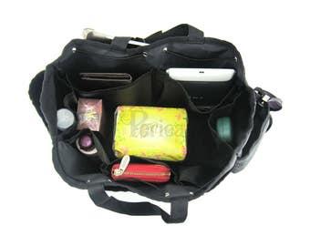 Periea Blue/Black Handbag Organiser - Large Size | BERTHA