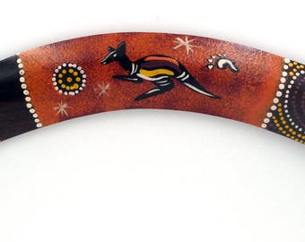 Aboriginal Boomerang Kangaroo or gecko wooden dot painting wood boomerang