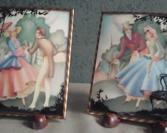 Vintage Silhouette Pictures Courting Couple Convex Bubble Glass Reverse Painted
