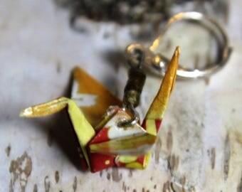 """Origami Kranich """"Tsuru """" Ohrringe in Echtsilber gelb"""