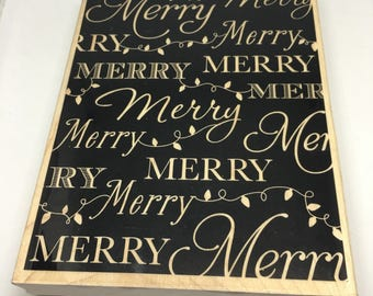 Rubber Stamp / Merry Background Stamp / Background Stamp / Holiday Stamp / Scrapbooking / Card Making Supplies /Wood Mount Stamp