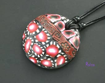 Red black white pendant necklace Designer Jewelry Statement pendant  Statement bold Bright pendant Black red pendant Statement pendant