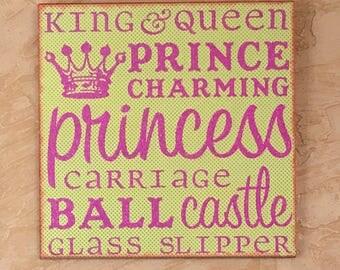 "Custom GIRLS ROOM WALL Decor ""Princess Word Collage"""