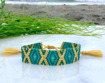 Hand Woven Beachy Blue, Green & Gold Seabeed Adjustable Tassel Bracelet