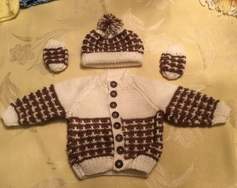 Handknit Baby Boys Sweater/Hat/Mittens Set