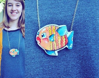 Hand painted Fish necklace/brooch/pendant Bijoux Tale sea. Wood.