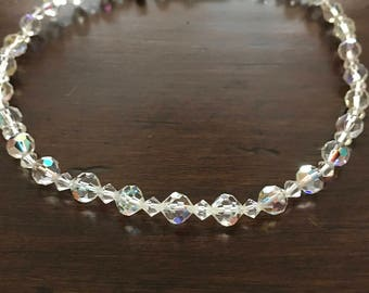 Elegant Aurora Borealis Crystal Necklace with Silver Box Clasp, 1950s