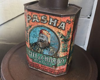 coffee &chicory tin ,Antique , collectable ,Advertising ,victorian , industrial tin.