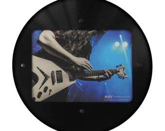 Round LP pictures frame made of real vinyl record with image section 15.5 x 21.5 cm