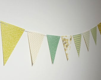 Green Yellow  Tone Flowers Leaves Paper Garland Flag Bunting G10