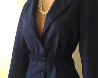 Puff sleeve 1940s navy blue linen jacket
