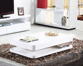 Courbe 1m White Gloss Coffee Table