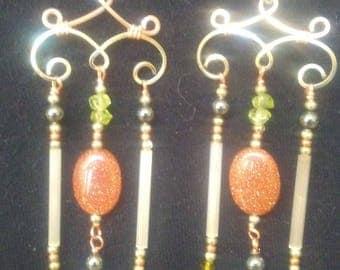 Jewelry, earrings, Hand made, wire wrapped, goldstone, peridot and opelight, chandelier, earrings, gift,