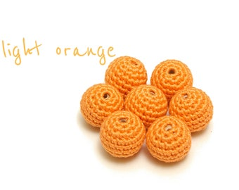 Crochet beads - 22 mm 1/2/5/10/20 pcs, light orange beads, handmade beads, wooden cotton beads, 100% cotton beads, crochet round beads C4912