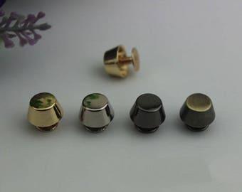 10sets 8mm Plated Rivets Flat Head Belt Screws purse leather bag handbag Screws rivet Golden Leather Work studs High Quality