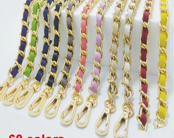 60 colors Leather Purse Strap Shoulder Replacement Handle handbag Bag Wallet Chain Metal Handle Plated Link Clutch chain Gold chain