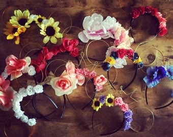 Custom Made to Order Wire Floral Mickey Mouse Ears