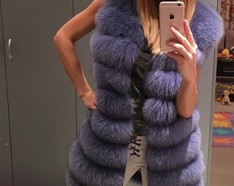 Purple Dream Fox Fur Vest