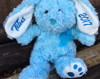 Personalized Easter Bunny, Personalized Easter gift, Blue bunny, Stuffed bunny, Easter Rabbit, Stuffed animal, Personalized, Rabbit, Easter