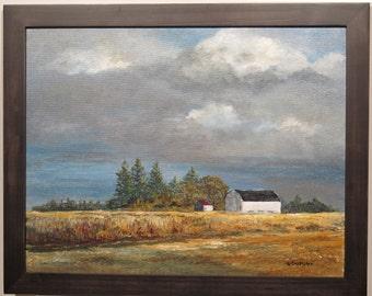 Original landscape, Stormy sky, acrylic landscape painting, dark blues, big sky, white barn, farm, fields, pines, wood frame