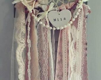 Vintage Bohemian Style Lace & Pearls Dreamcatcher with Crochet Centre 20cm Diametre
