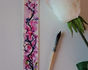 Bookmark in watercolor of pink flowers, original painting
