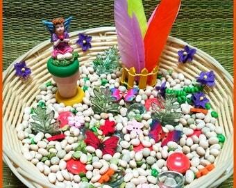 Fairy Garden Spring Sensory Bin Loose Parts Pretend Play Montessori Reggio Emilia Inspired Seasonal Sensory Bowl Transient Art