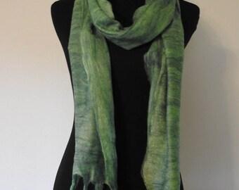 Nuno felted scarf, fine merino wool on silk gauze
