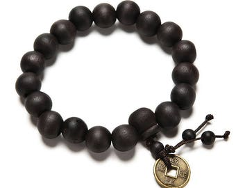 Black Wooden 1cm Buddha Mala Bead Bracelet - Buddhist Prayer Beads