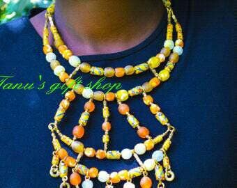 Elegant Orange African Necklace