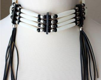 Native American Indian bone hairpipe fringed choker, black & white navajo inspired tribal necklace, hairpipe choker, biker leather choker