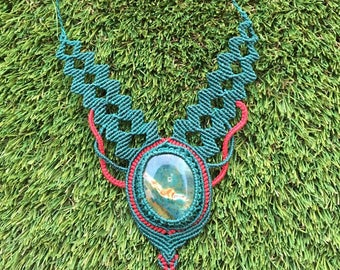 necklaces handmade macrame with semi-precious stones