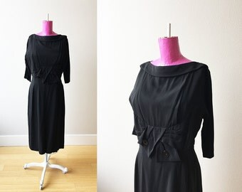 The Edith Piaf | Classic Little Black Dress R&K Originals Early 1950s Dress