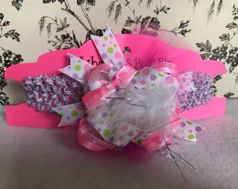 Girls polka dot big bow headband/girls big headband hair bow