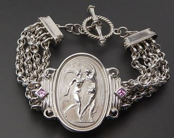 "Seidengang 925 sterling silver mythological Apollo pursuing Daphne toggle bracelet 7.5"""