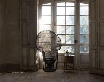 vintage style iconic PEACOCK CHAIR Emmanuelle chair- colour black