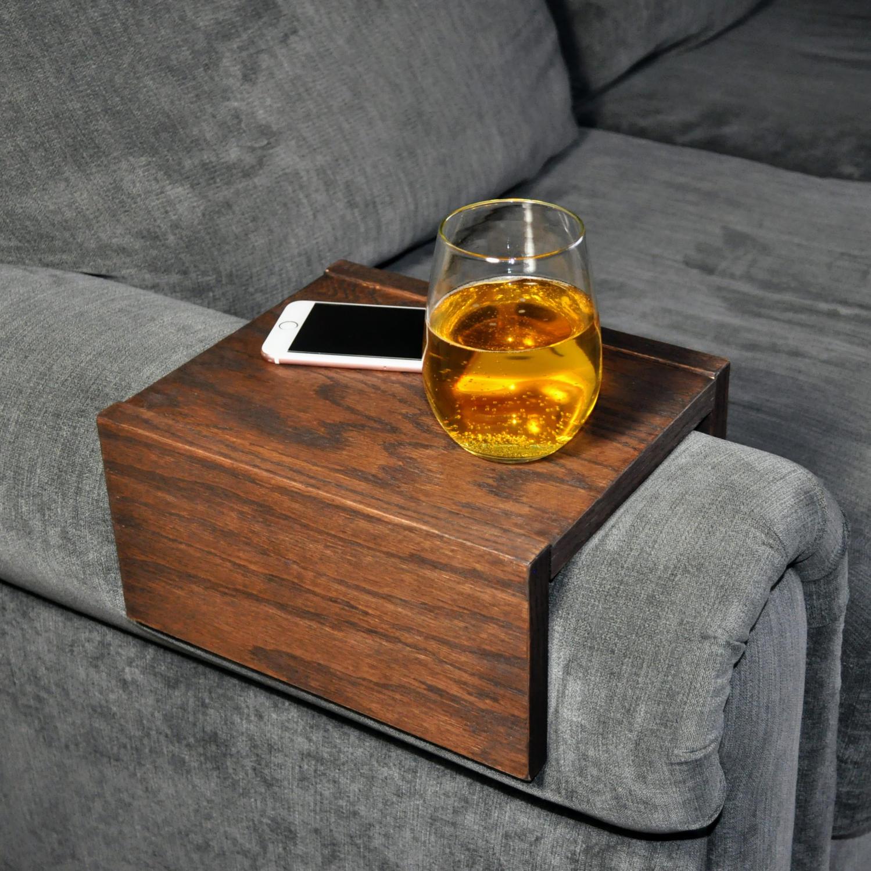Sofa Armrest Table Custom Couch Armrest Chair Caddy Wood