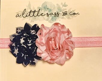 Pink Elastic Headband - Blue and White Star with Pink and White Flower