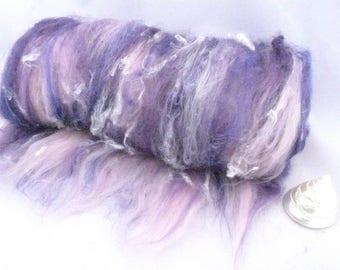Art Batt, hand carded art batt, Spinning Batt, Fibre art batt, Wool Batt, Spinning Fibre, Purple and Pink Batt