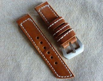 Bracelet Watch brown leather 24/24 - Handmade watch strap ammo pouch