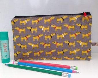 Dog fabric pencil case; storage pouch; make up bag; zipped wallet.