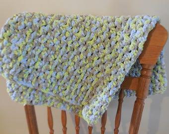 crochet baby blanket ~ baby boy ~ blue blanket ~ extra plush blanket