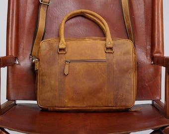 """Leather Briefcase 15"""" / Leather Messenger Bag / Laptop Bag / Handbag / Satchel / Hip Bag / Shoulder Bag / Carry Bag / Cabin Travel Bag"""