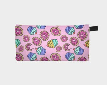 Dessert Cupcakes and Donuts Sprinkles Polytwill Canvas Pouch in Pink | Pencil Case | Makeup Bag