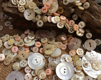 Mother of Pearl. Vintage Buttons.  Collectible Antique. Button Lot. Crafting. Sewing. Scrap booking. Dress Making. Wedding. Doll Making,