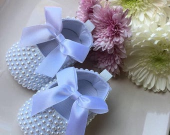 Pearl Encrusted Baby Birthday/Flowergirl Shoes