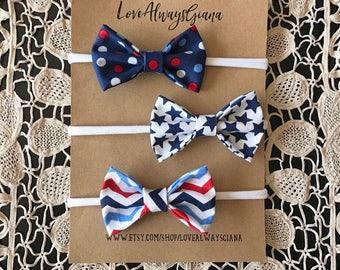 4th of July set of three headbands