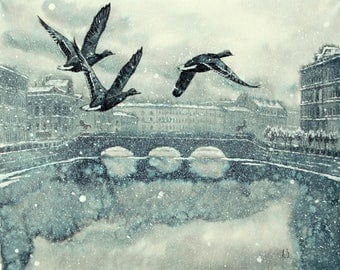 "Snow Day Art Original Ink Painting by Zuev Aleksei, 16x20"" painting, ink landscape, flying duck art, Blue Black Indigo"