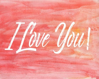 Water Color I love you Postcard Download