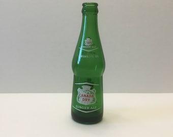 Canada Dry 7 oz. Vintage Soda Pop Bottle Bulbous Shape Green